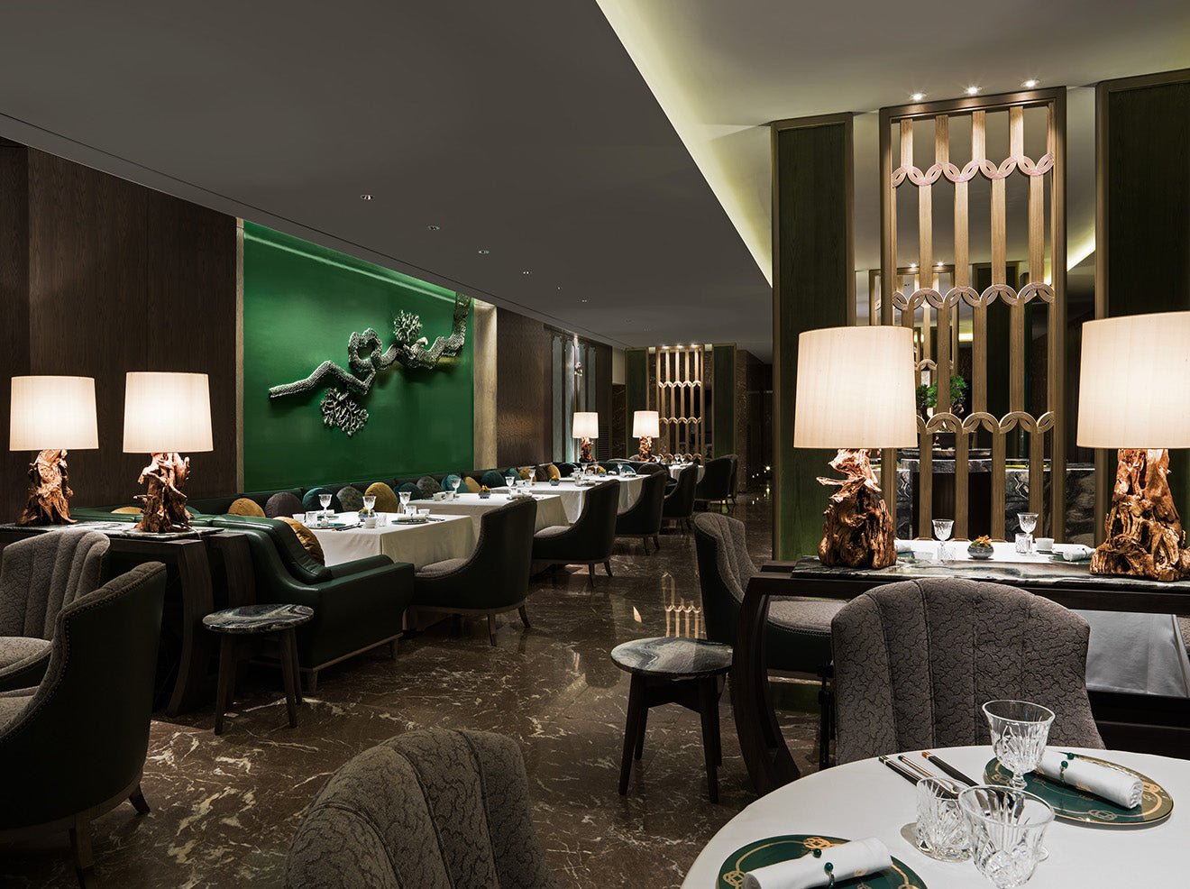 AFSO Andre Fu Interior Design Yu Yuan Restaurant Green interior decor