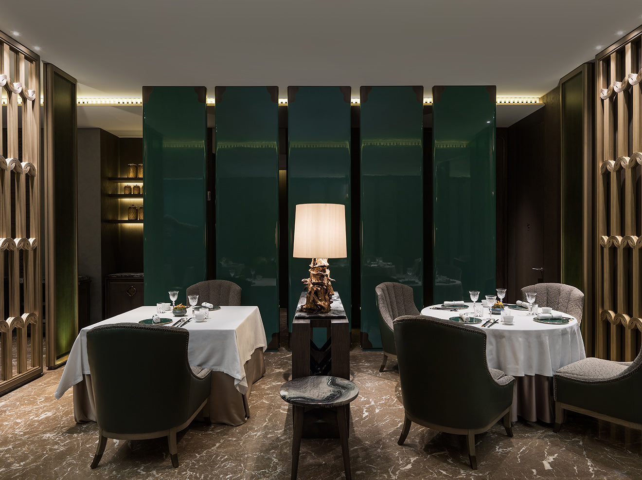 AFSO Andre Fu Interior Design Yu Yuan Restaurant green lacquered paneling