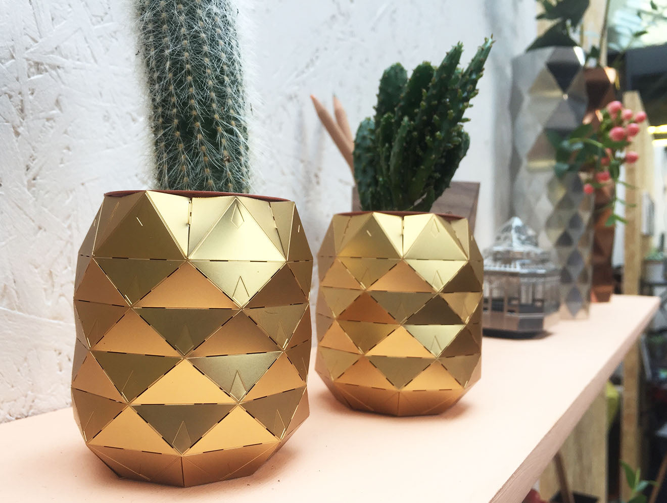 Brass coloured metal cactus plant holders from Another Studio