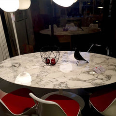 White marble oval table from Aram