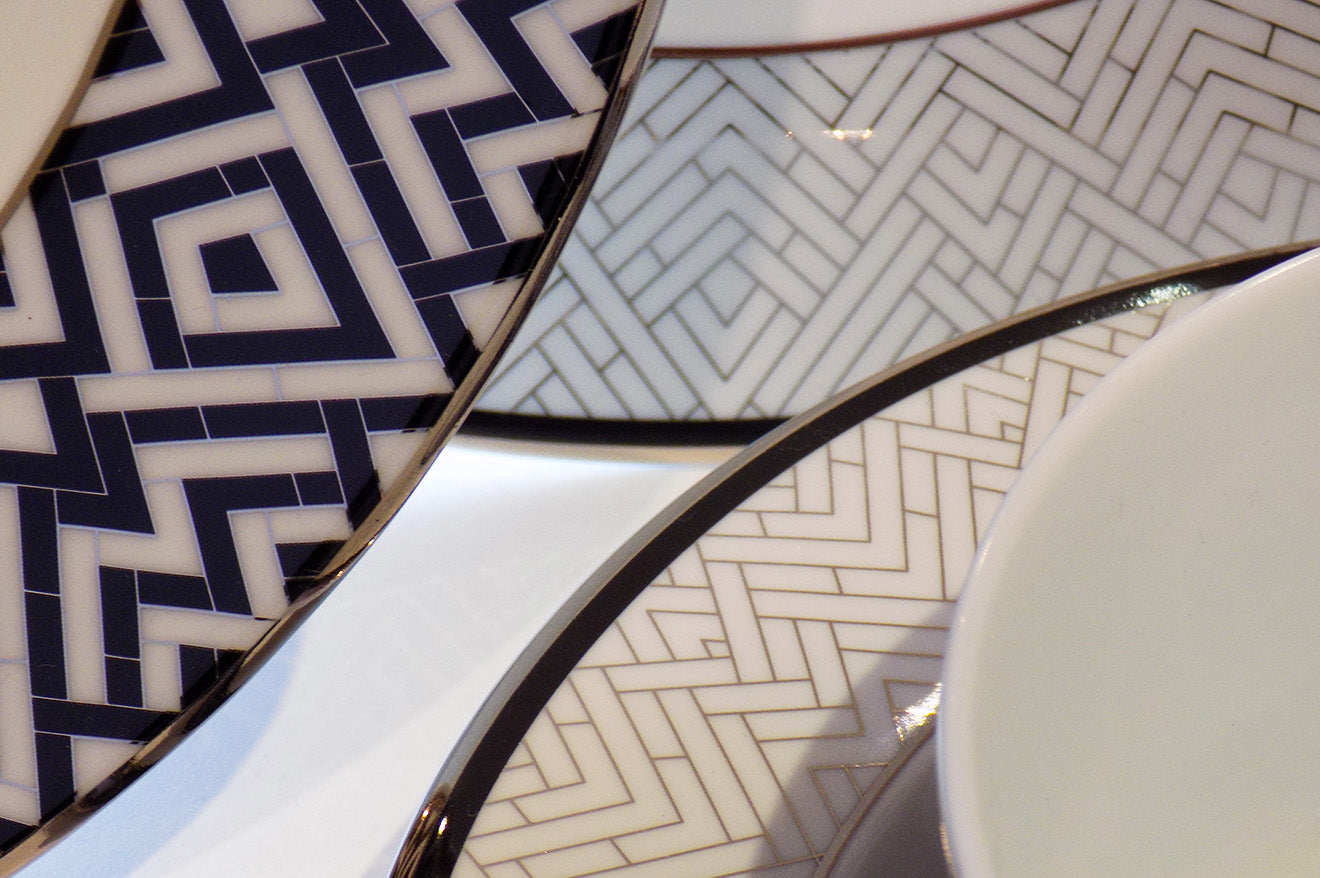 Art Deco style crockery with black, white and platinum detail