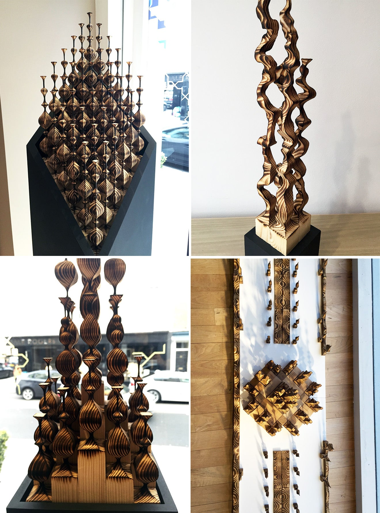 Wooden artwork and carpentry on display at LINLEY