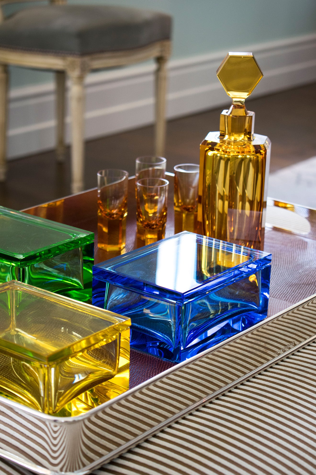 Asprey coloured crystalware decanters and glasses