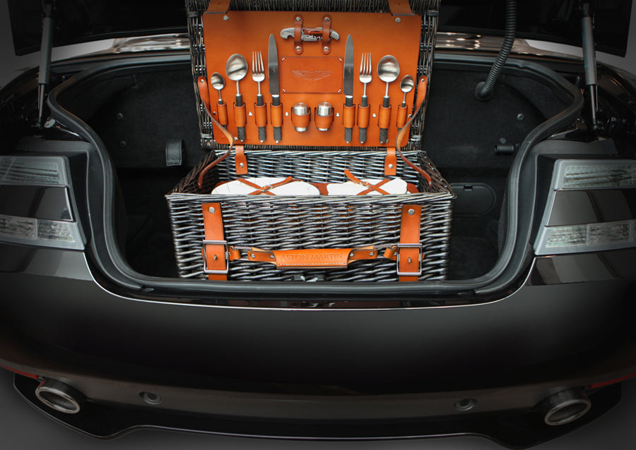 Luxury tan picnic hamper from Aston Martin