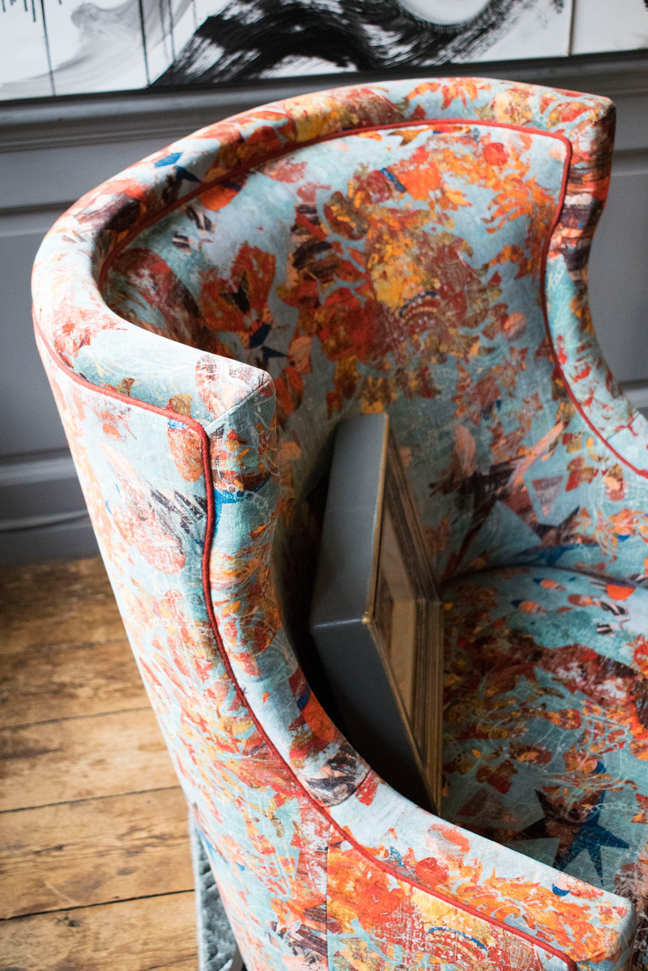 Author Interiors Mary Velvet chair with vibrant upholstery pattern