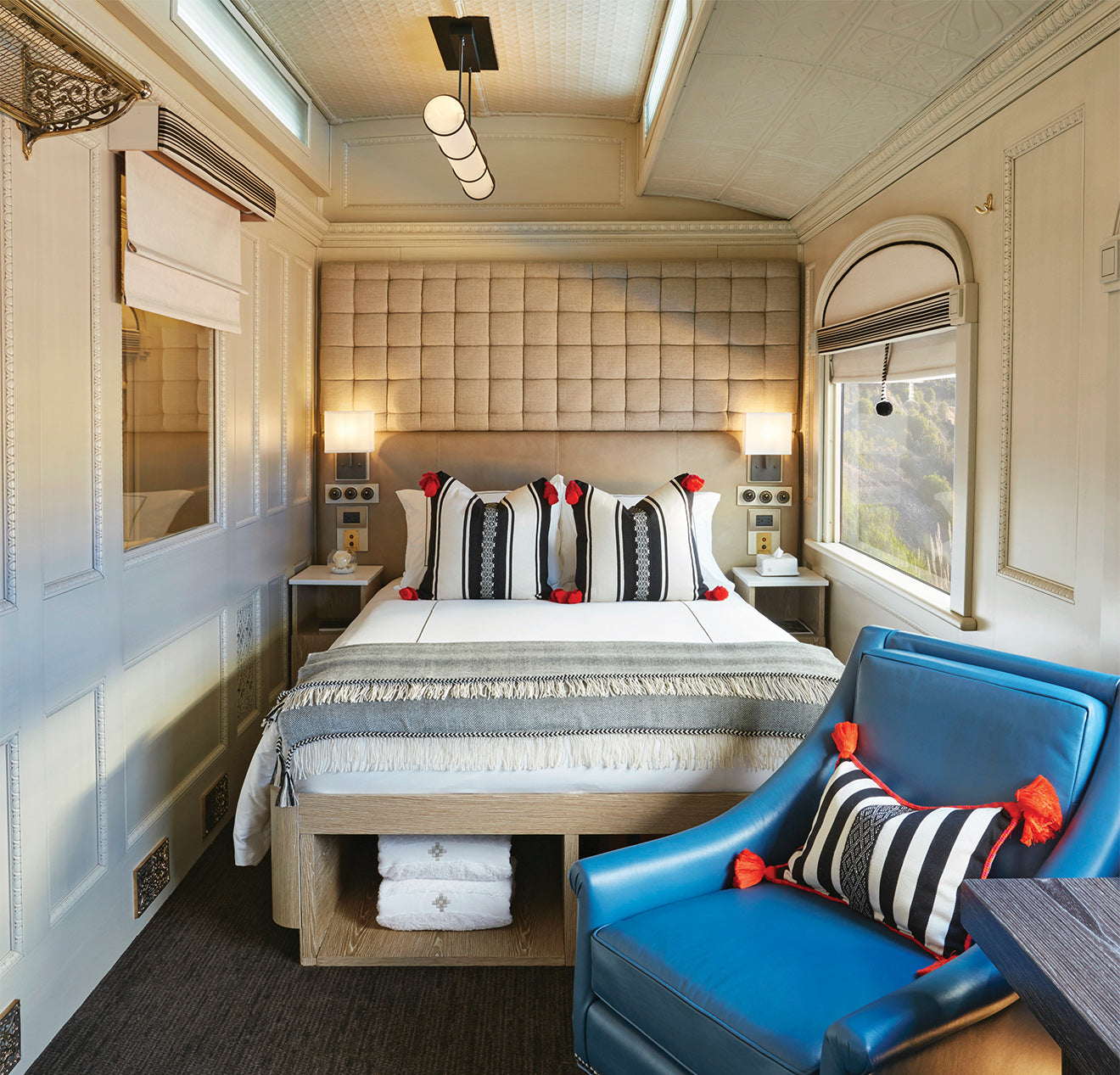 Bedroom in the Belmond Andean Explorer, South Africa's first luxury sleeper train