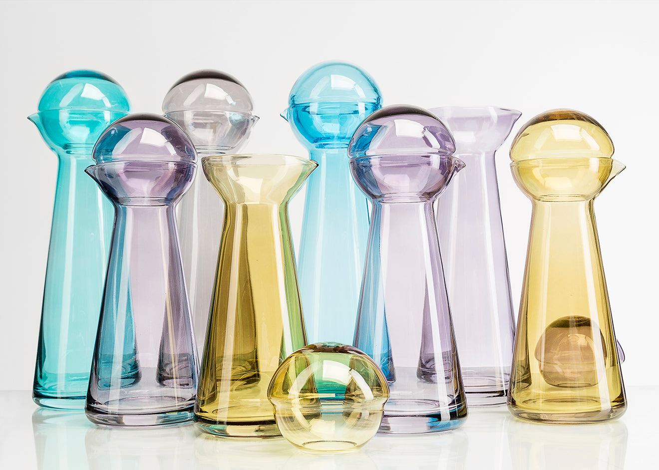 Birdie coloured glass decanter from Markus Johansson
