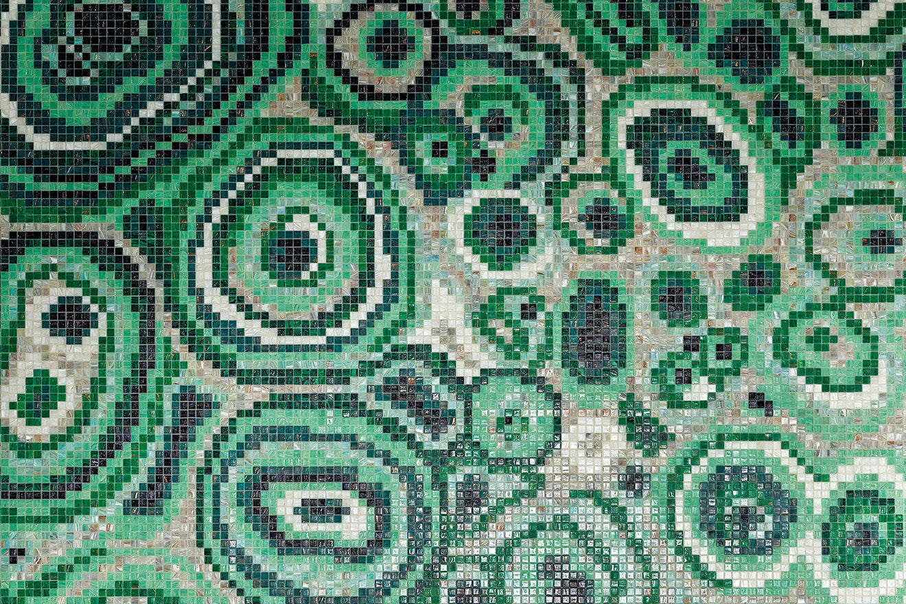 Greg Natale collaboration with Bisazza Milan beautiful green mosaic tiles