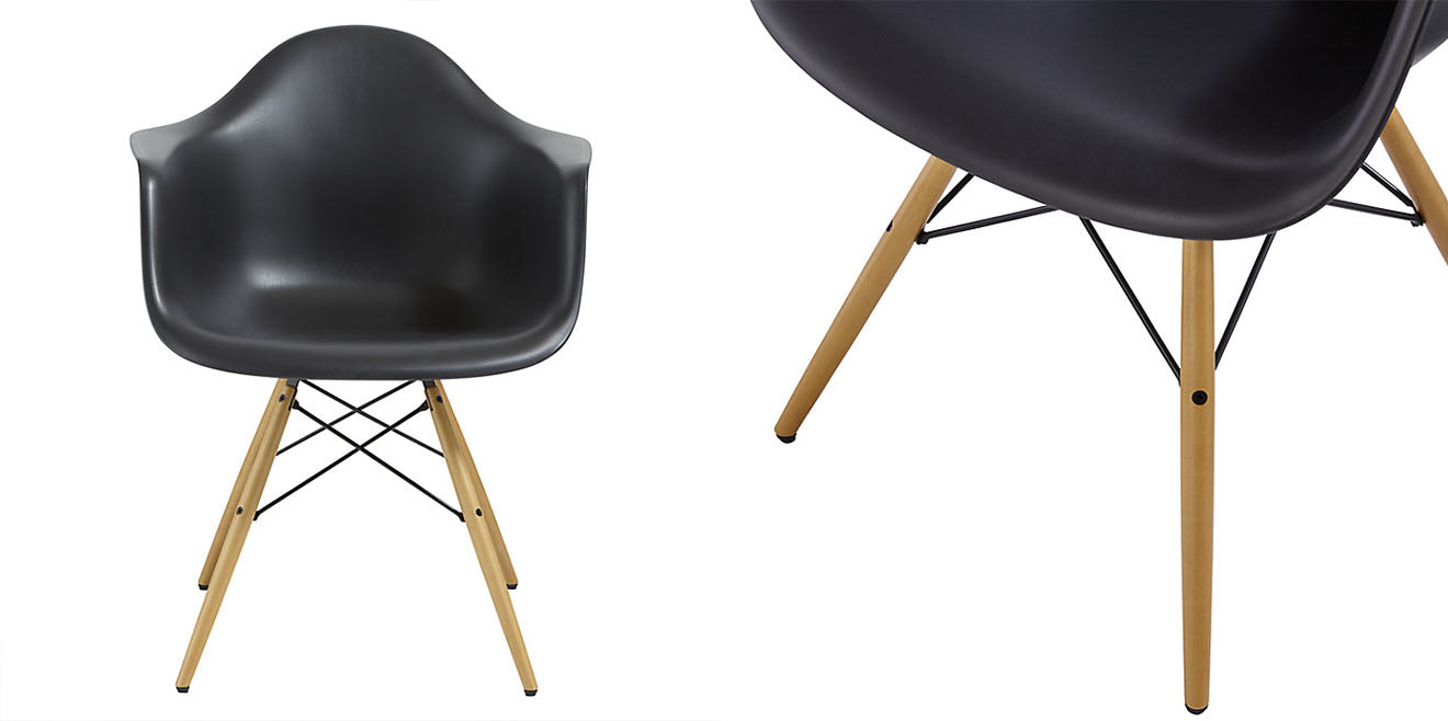 Black DAW chair with wooden legs