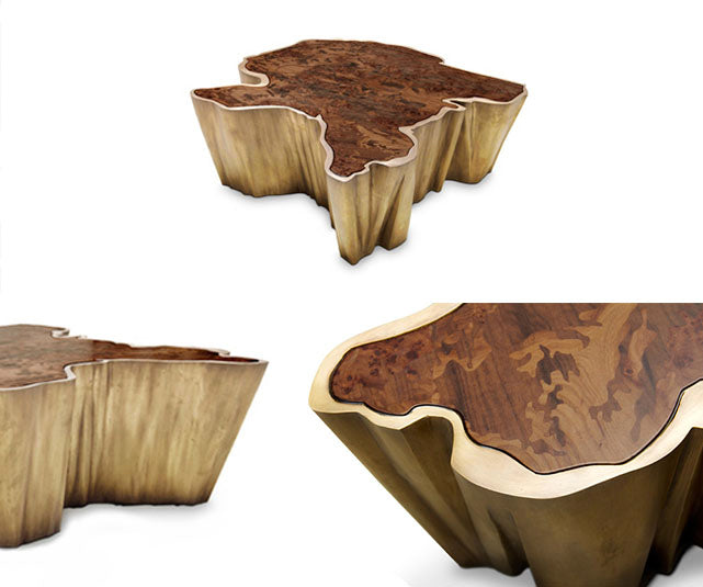 Brabbu brass Sequoia island coffee table