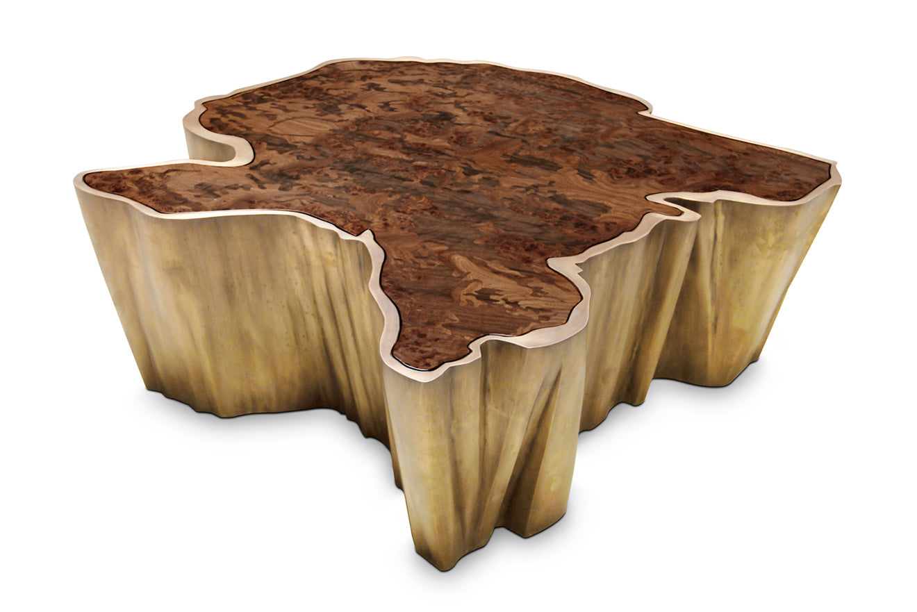 Brass island shaped coffee center table with wooden top finish