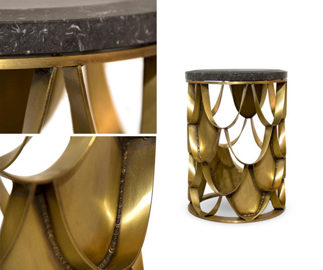 Brabbu gold koi fish scale side table with stone top