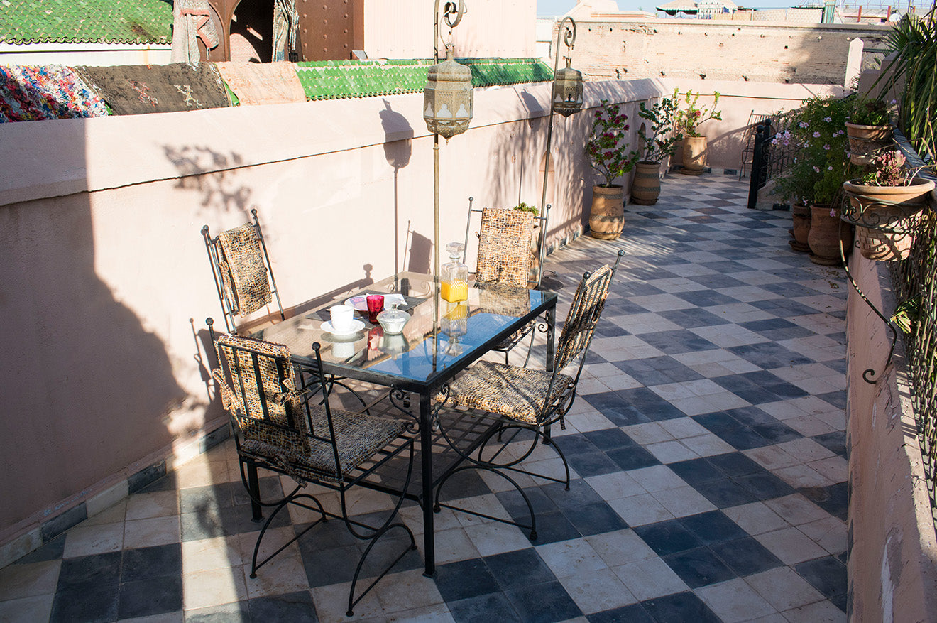 Breakfast on the rooftop in Marrakech Dar Jaguar Riad