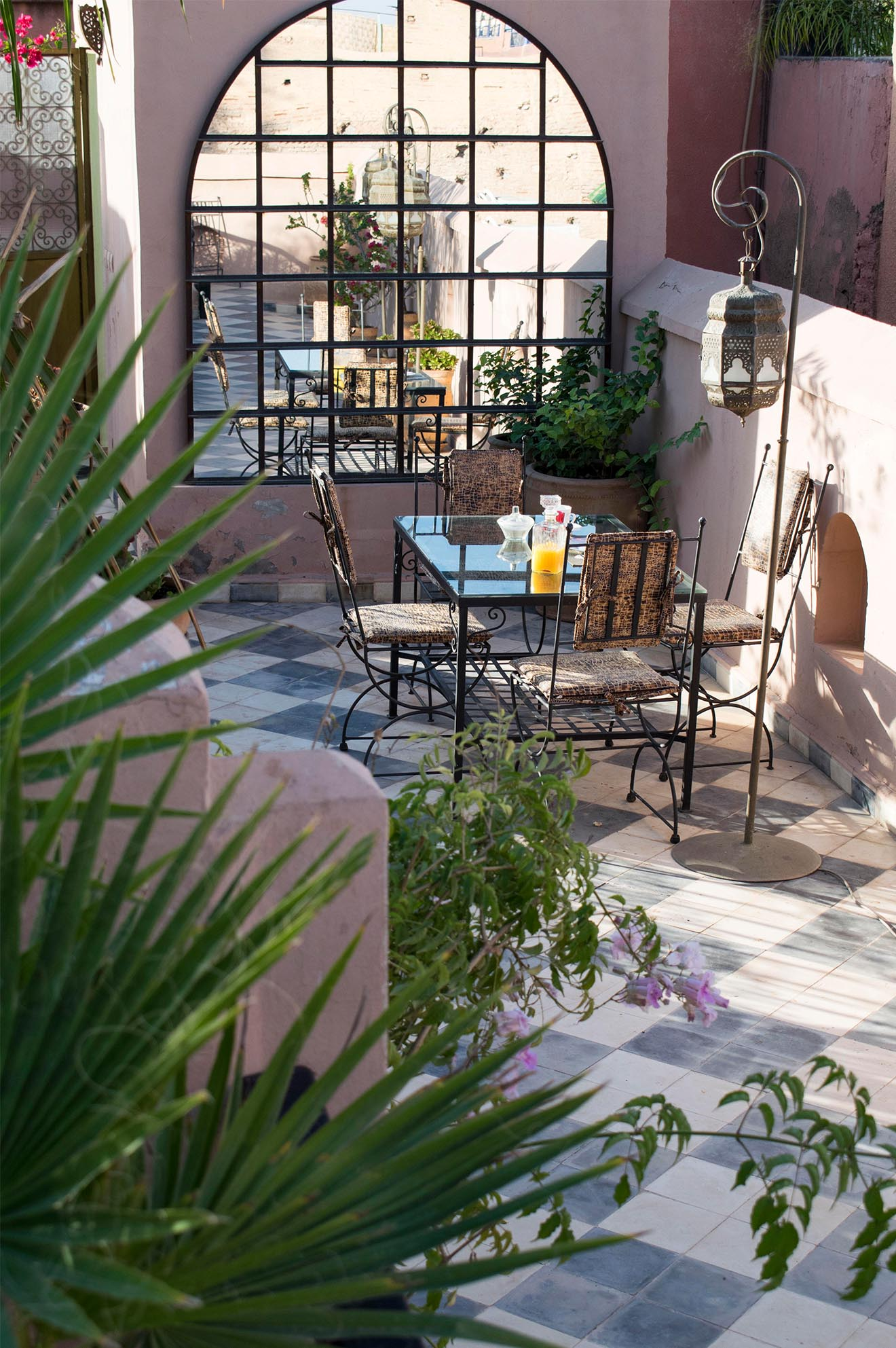 Breakfast in the roof at Dar Jaguar boutique hotel Marrakech