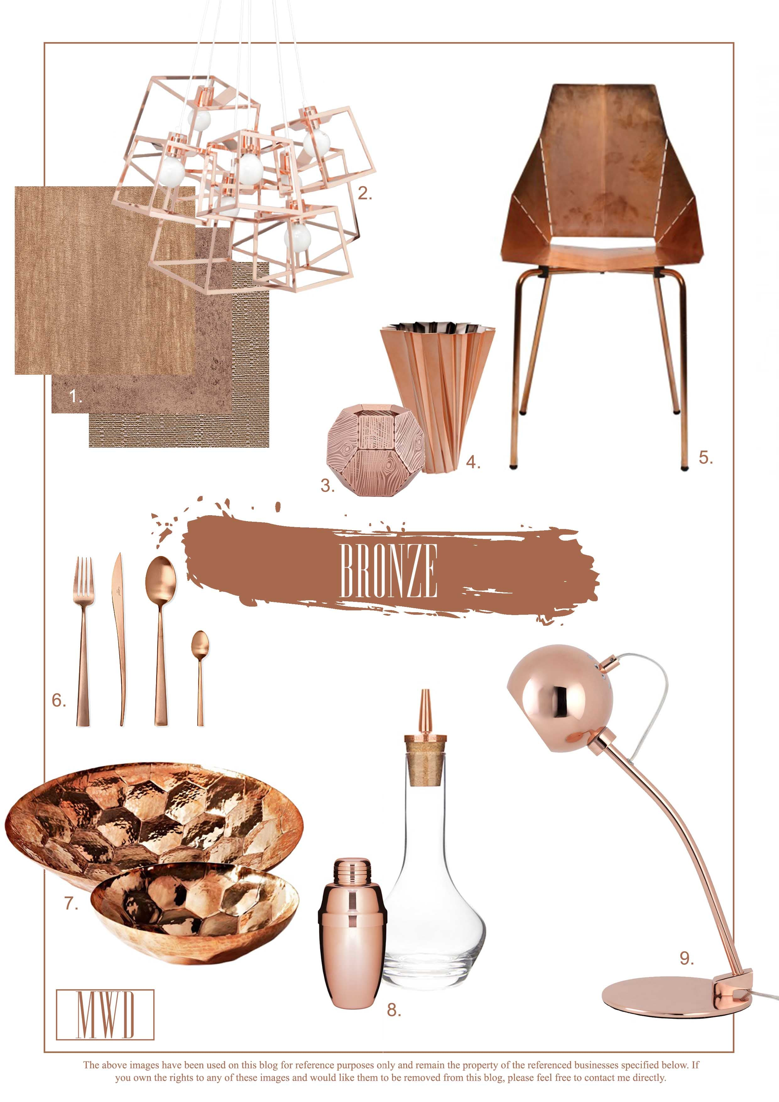 Bronze copper interior design decorating inspiration