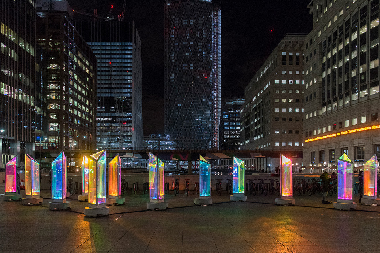 Canary Wharf Winter Lights 2019 Prismatica Raw Design with Atomic3