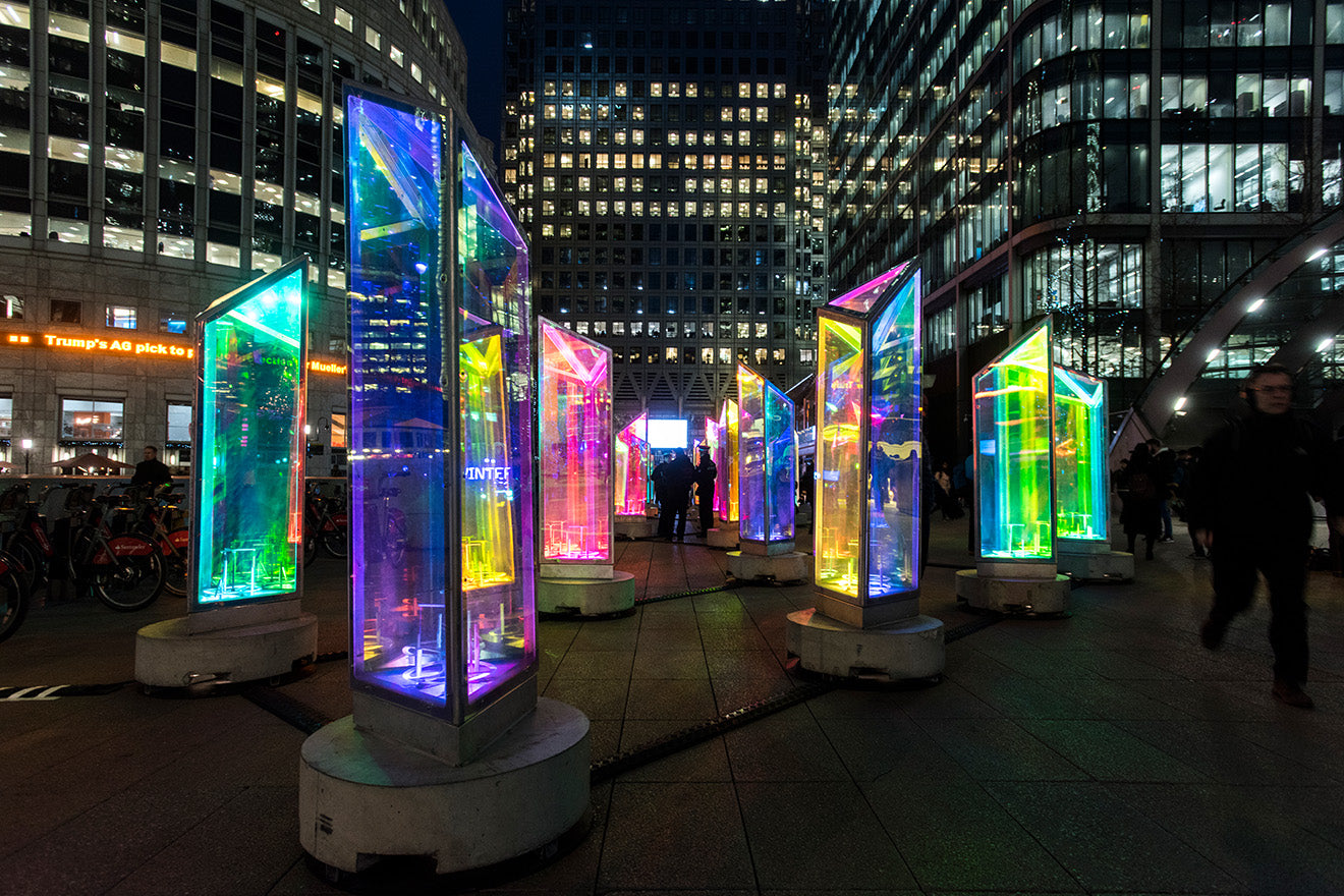 Canary Wharf Winter Lights 2019 Prismatica by Raw Design and Atomic3