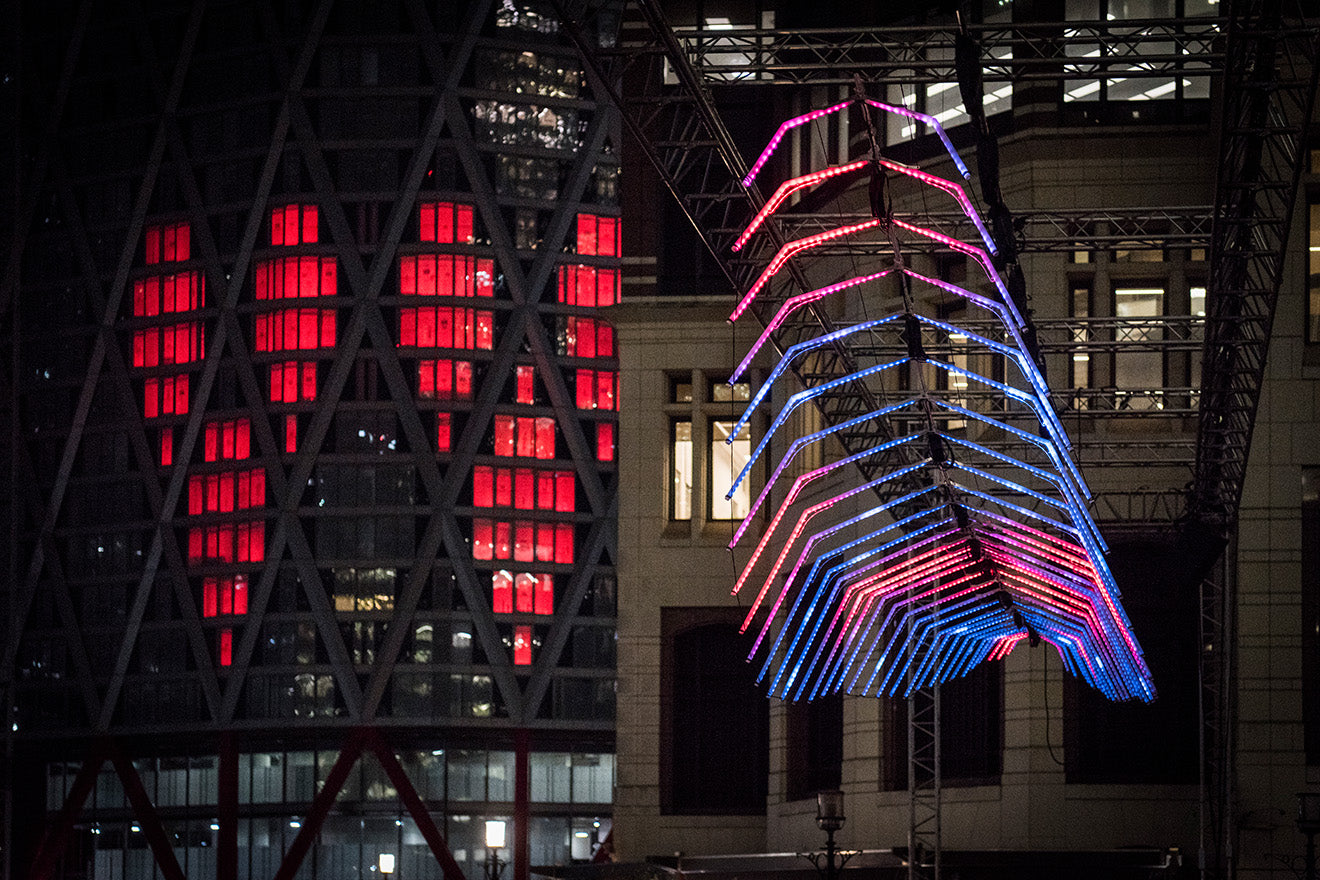 Canary Wharf Winter Lights 2019 Two Hearts and Whale Ghost