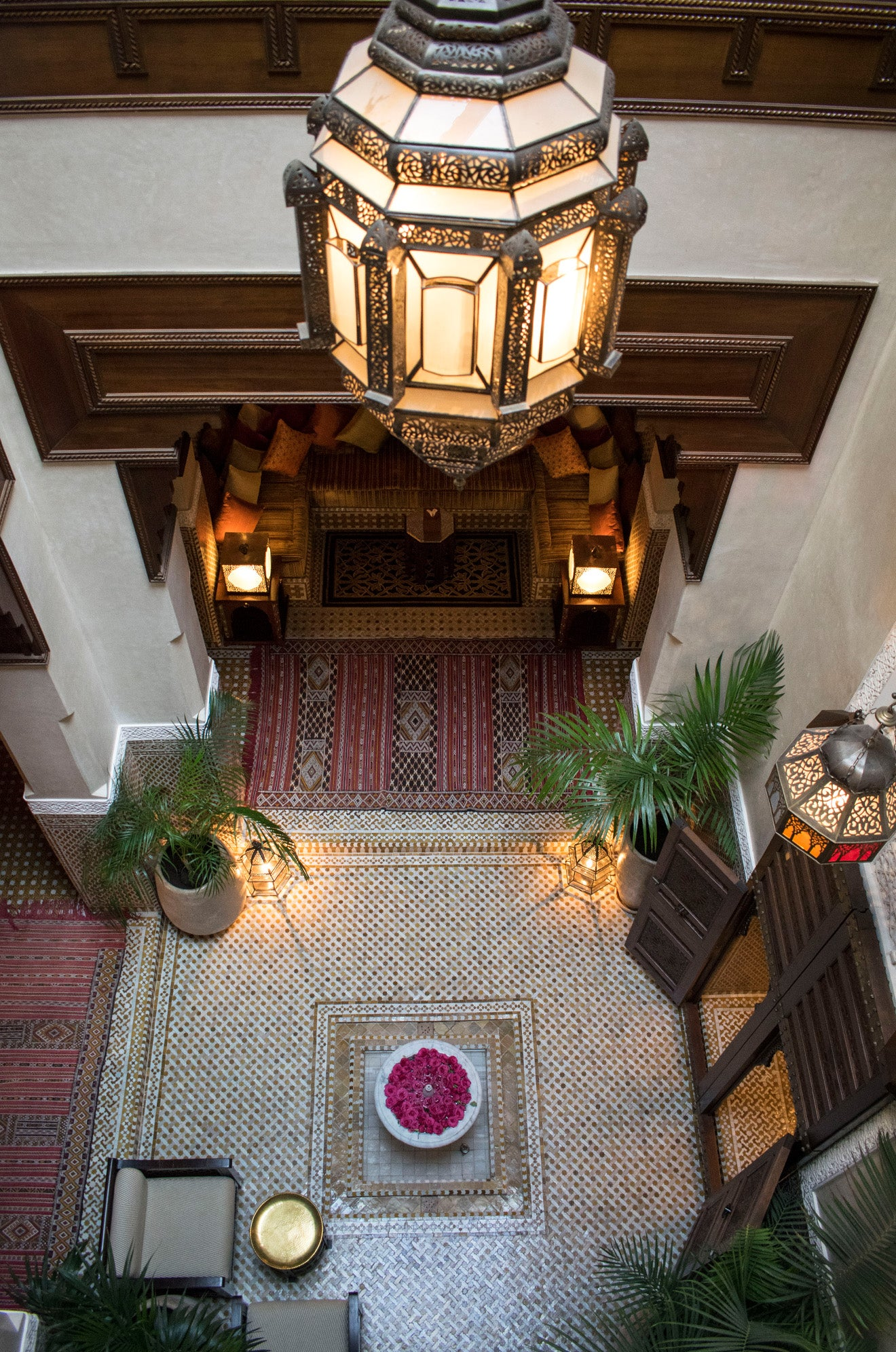 Looking down into the central courtyard Royal Mansour Marrakech