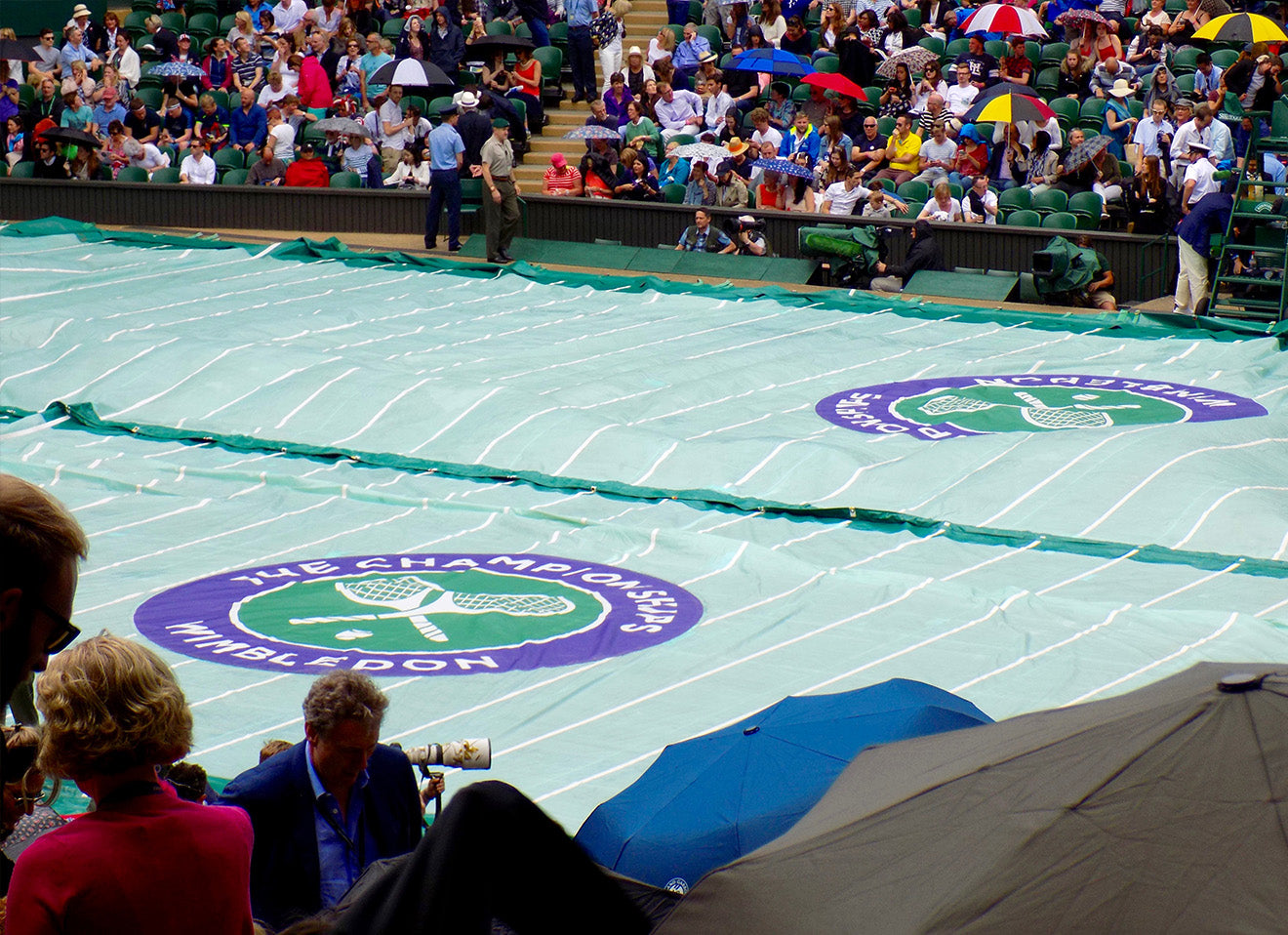 Wimbledon tennis court rain cover