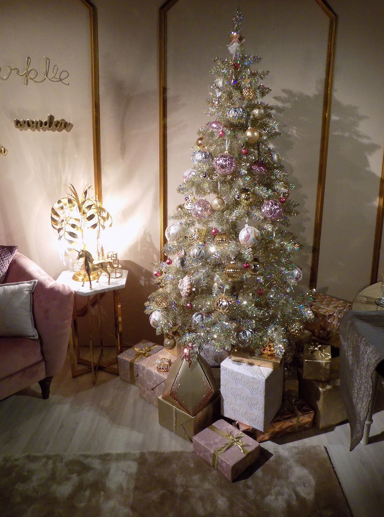 Marks and Spencer gold Christmas tree and decorations from their home collection