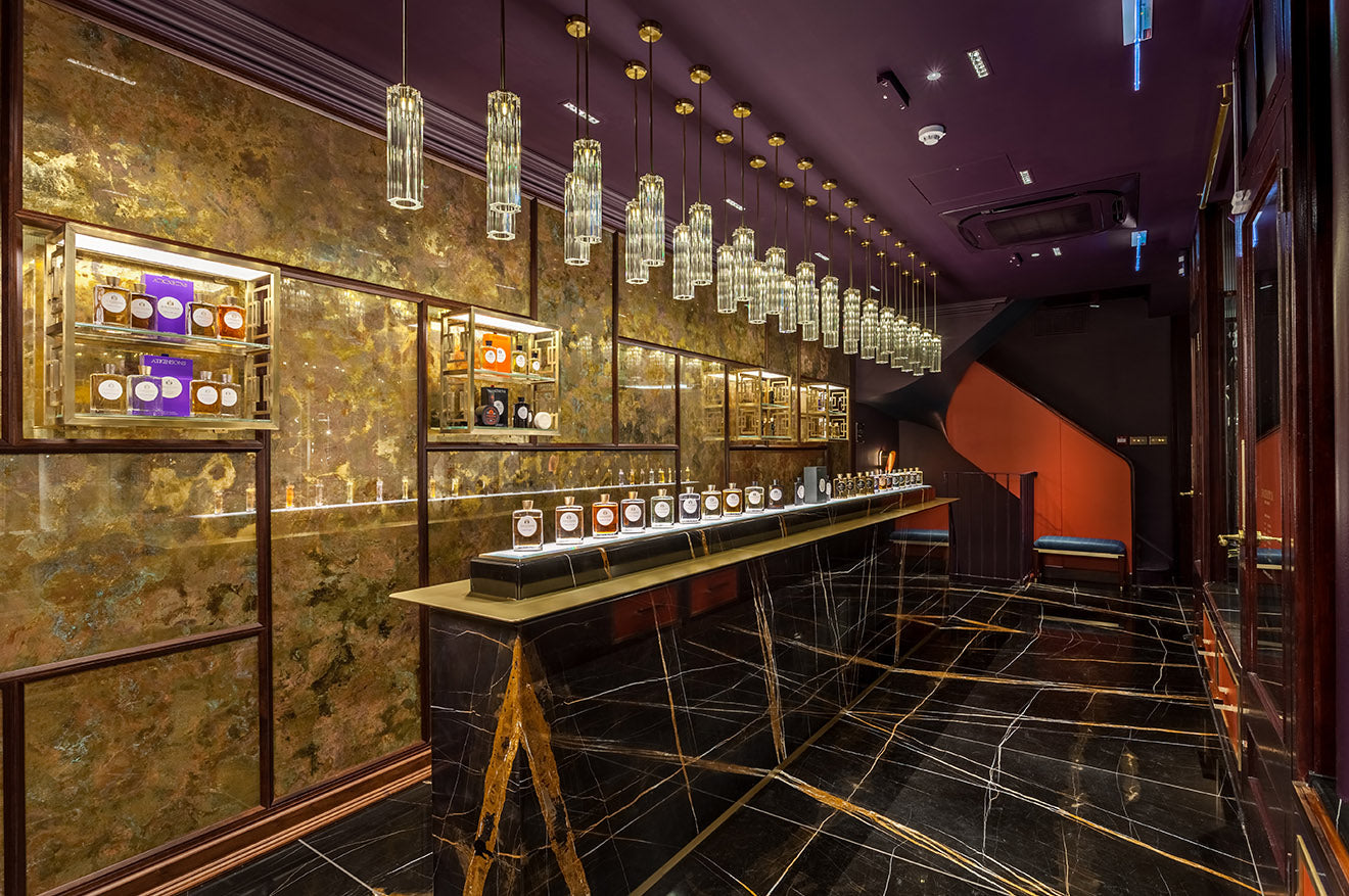 Atkinsons Burlington Arcade Fragrance Bar designed by Christopher Jenner Interior Design