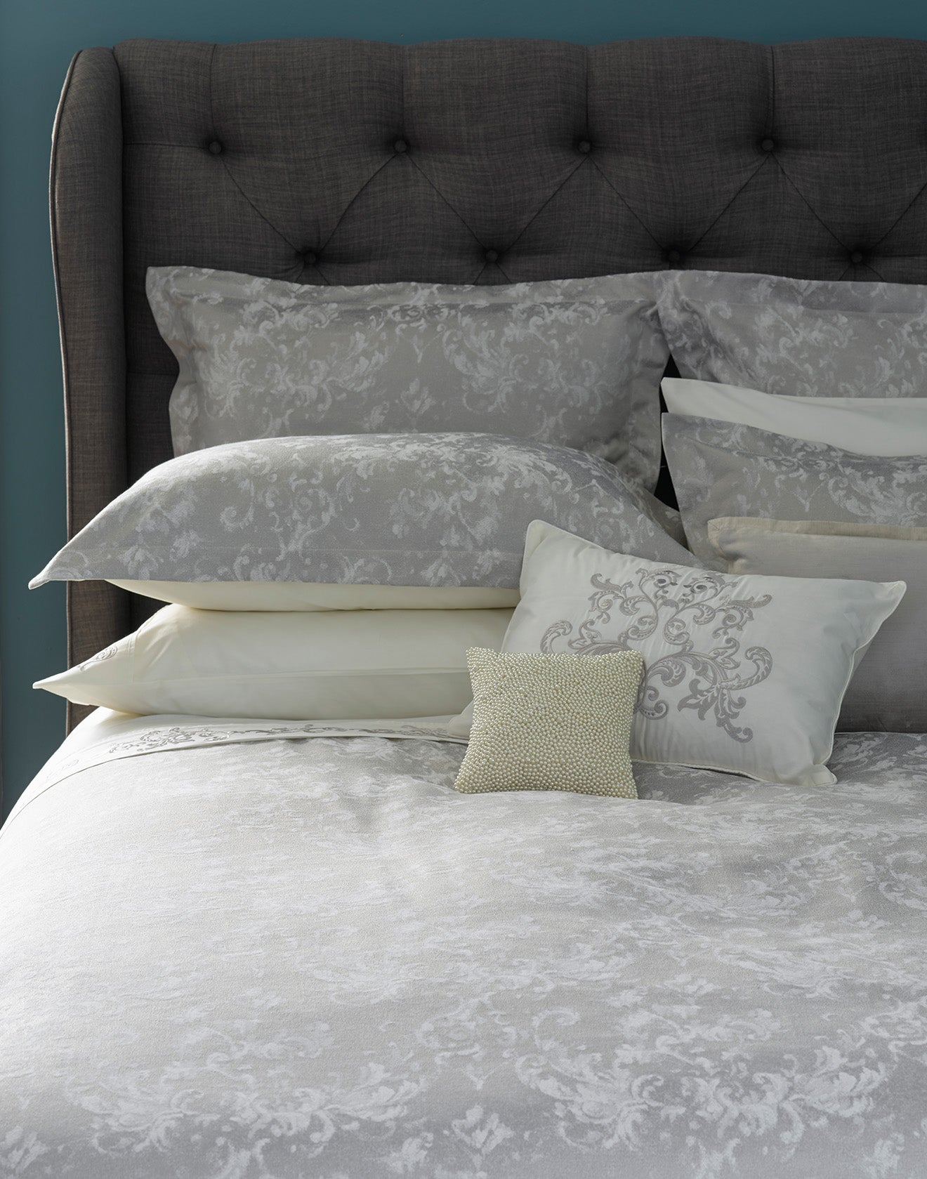 Luxury silver bedding from Christy