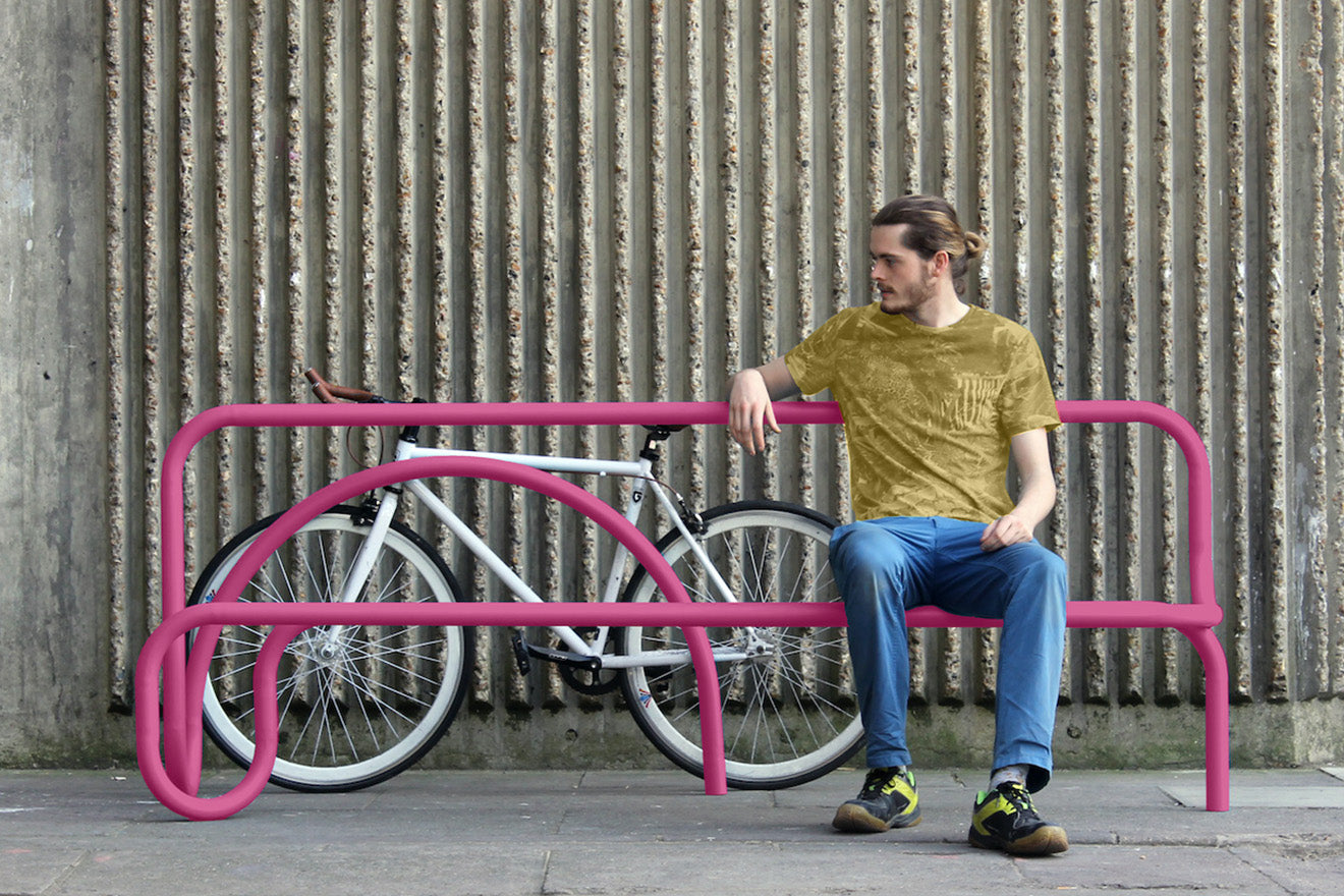 Clerkenwell Design Week Pink Bike Storage and Bench Design