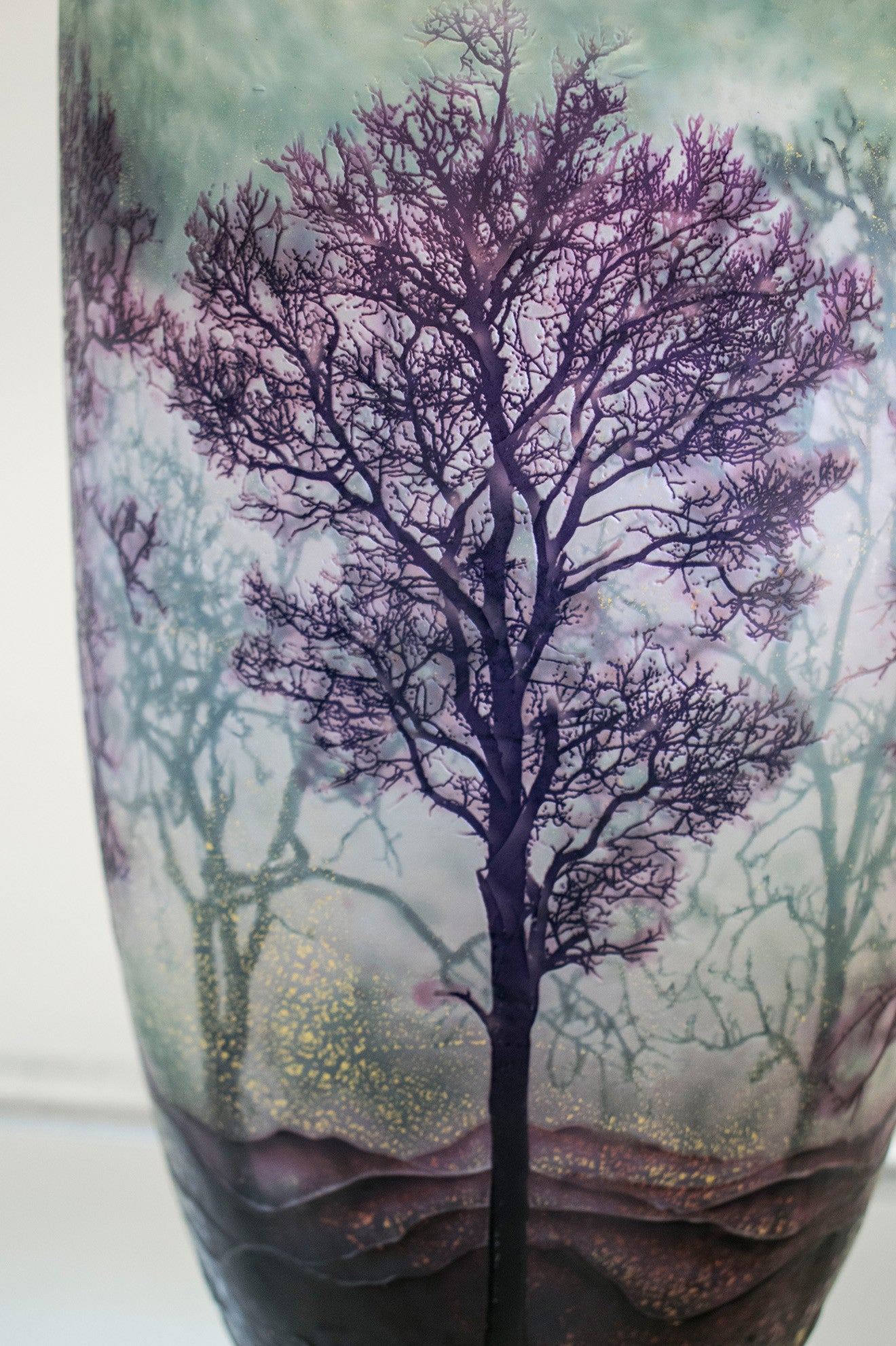 Decorative vase with purple trees and green glass Collect 2017