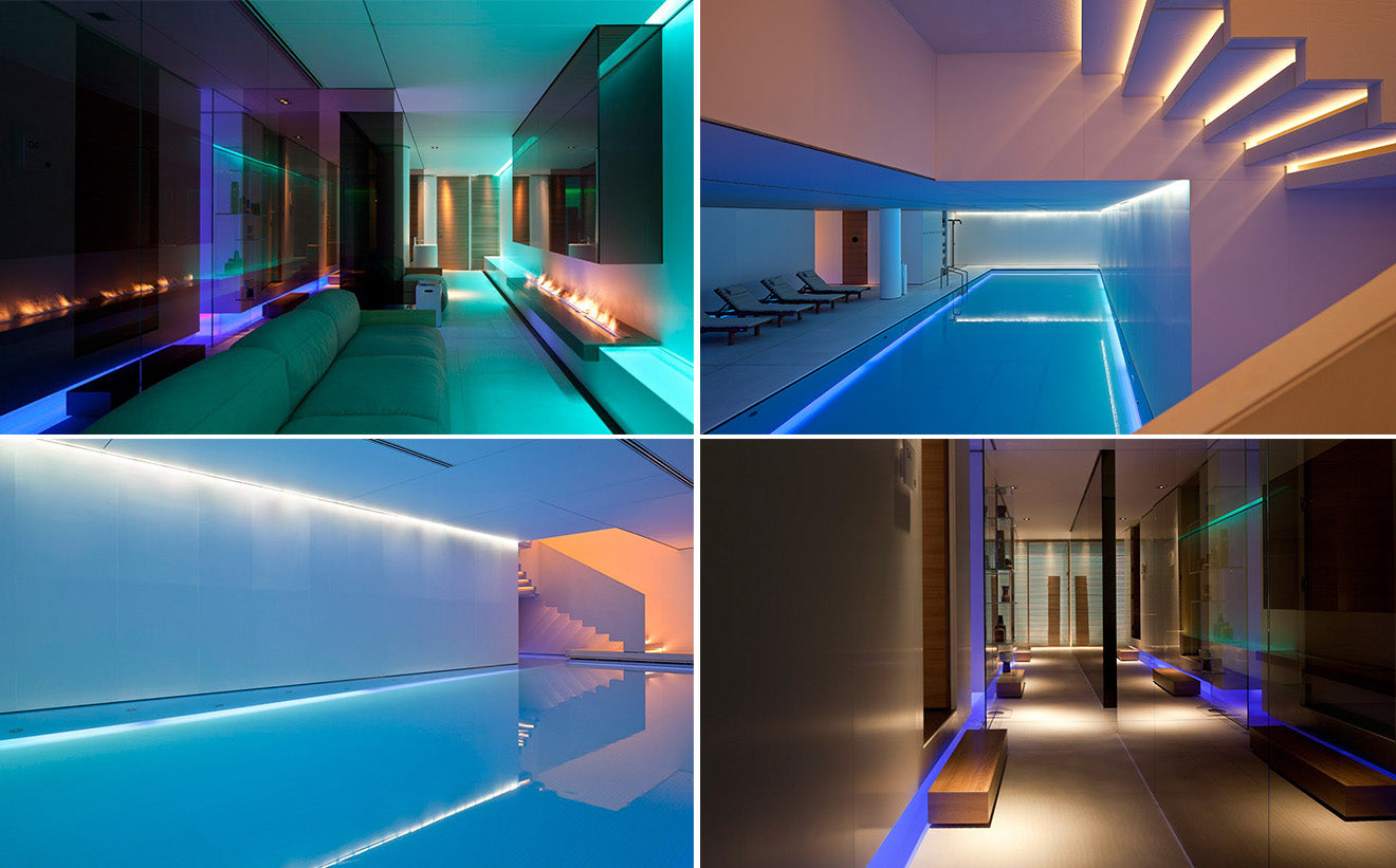 Beautiful futuristic design swimming pool and spa at the Conservatorium hotel Amsterdam