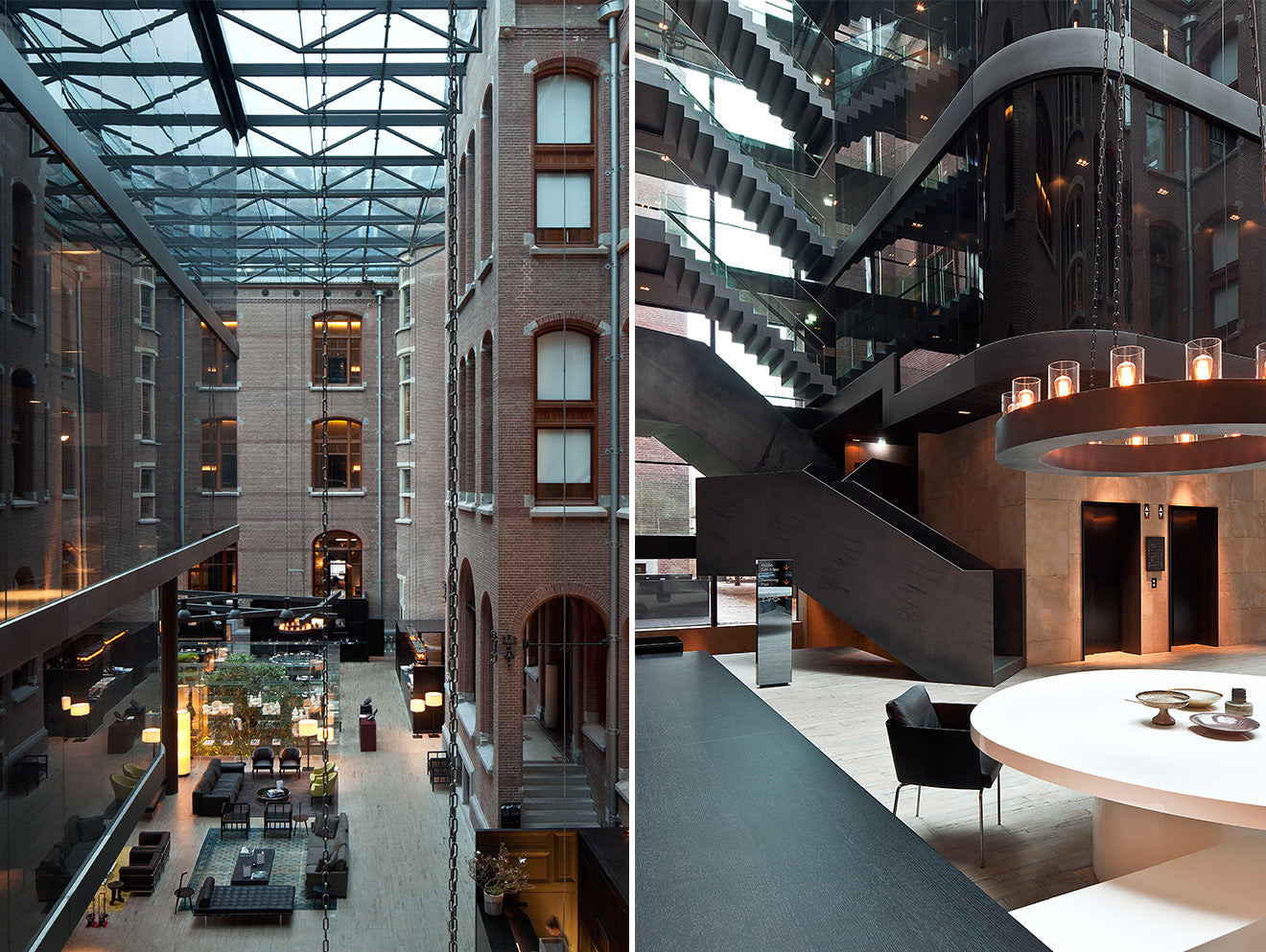 industrial interior design of the Conservatorium hotel in Amsterdam atrium and reception area