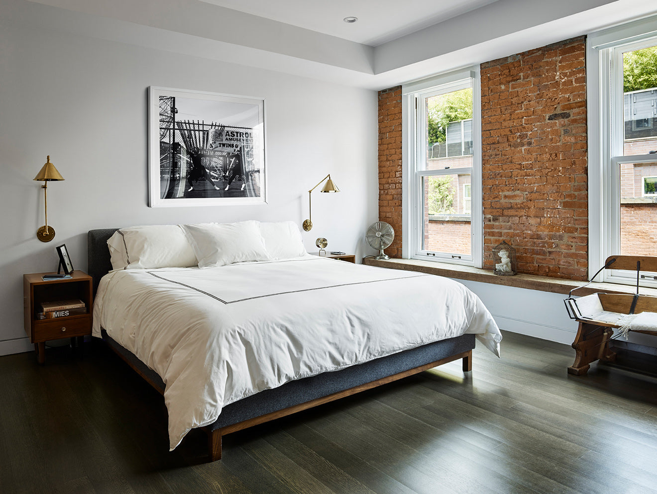 Bedroom with exposed red brick feature wall 10 Hubert Street
