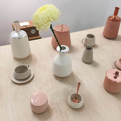 Copper and pastel vases and home accessories
