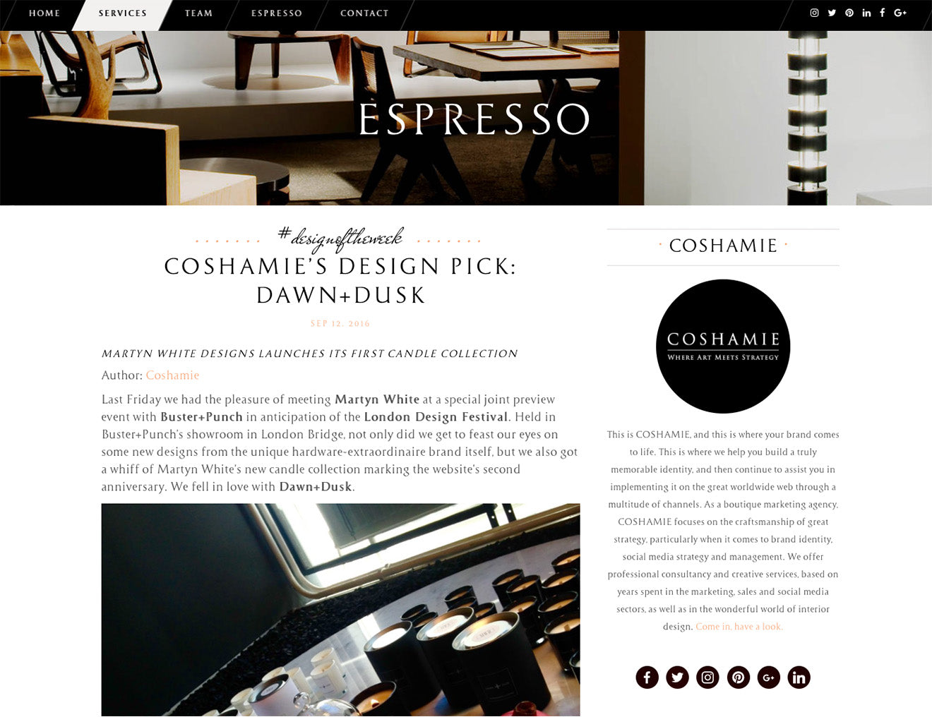 Coshamie design pick of the week Dawn + Dusk