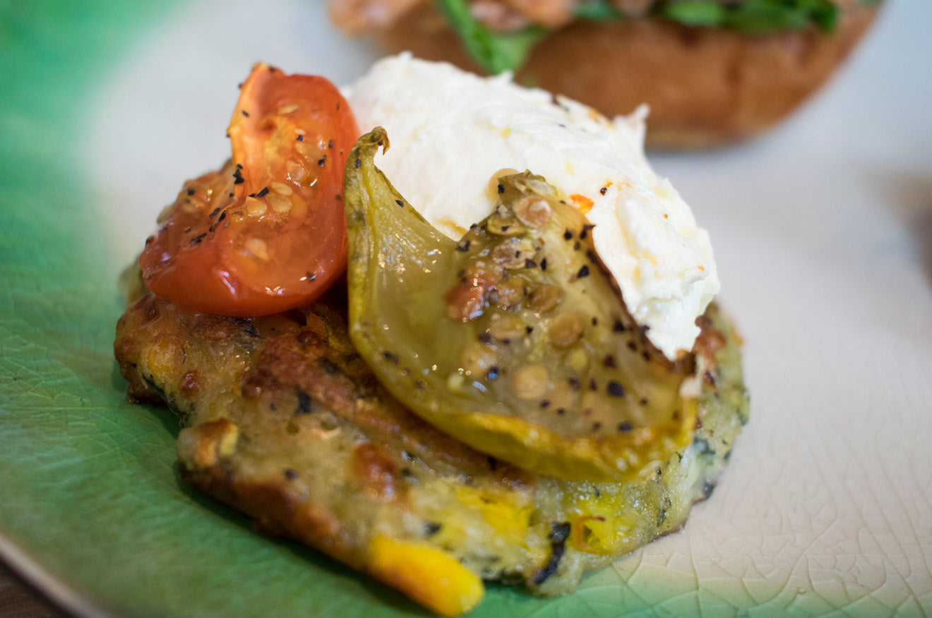 Courgette, Spinach and Corn Fritter with Slow Roasted Tomatoes at Social Pantry