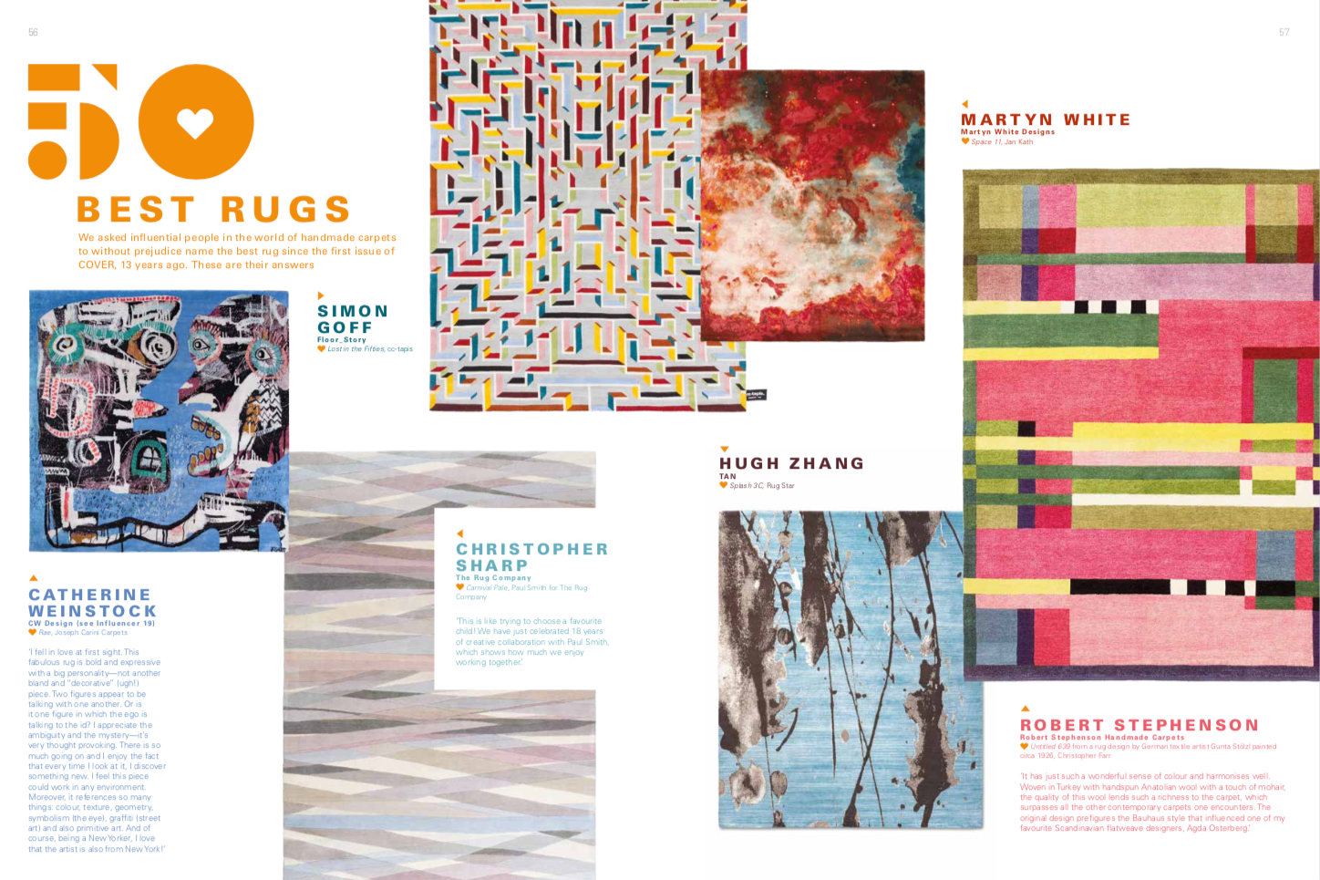 Cover Magazine top 50 rug designs feature