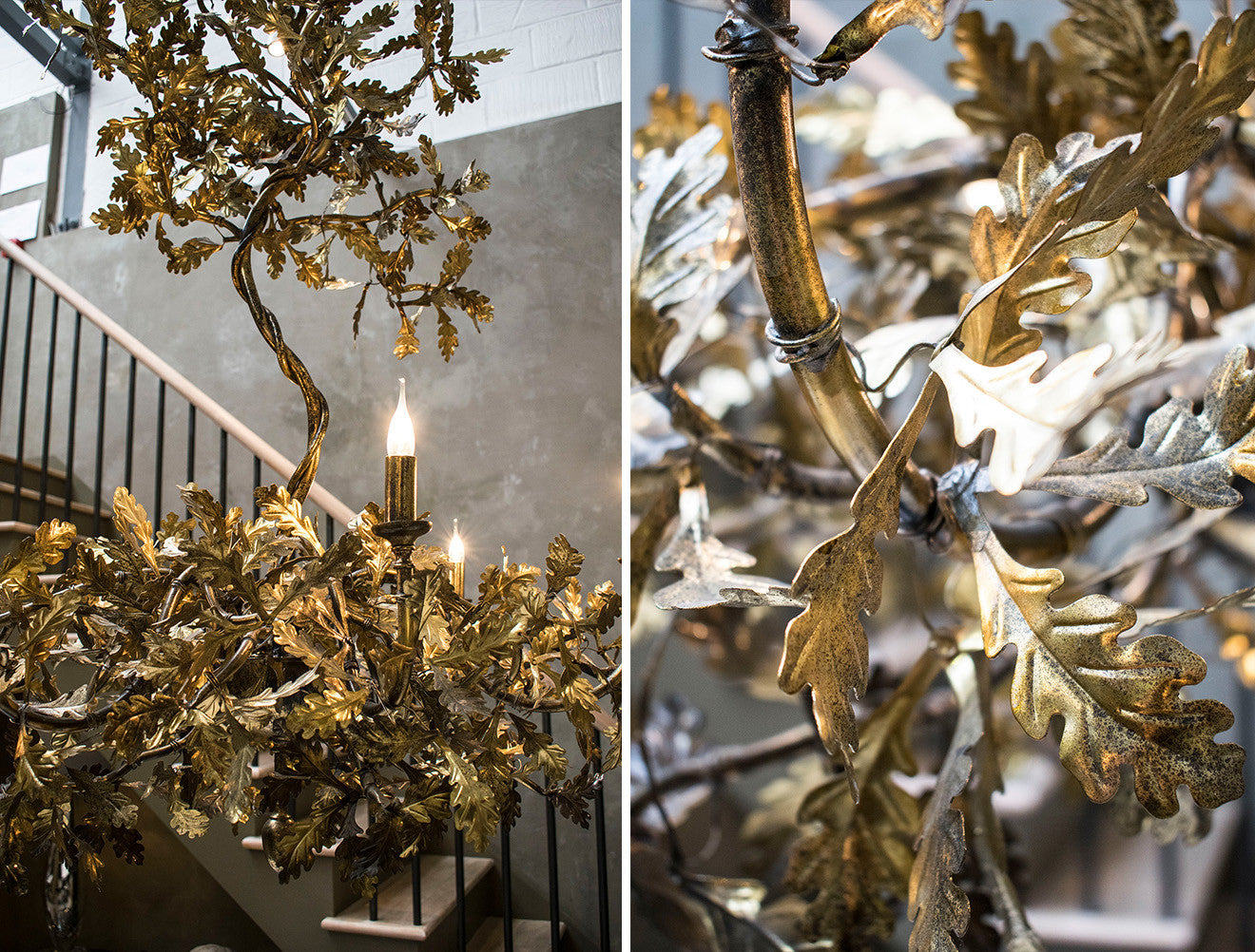 Cox London gold oak leaf chandelier
