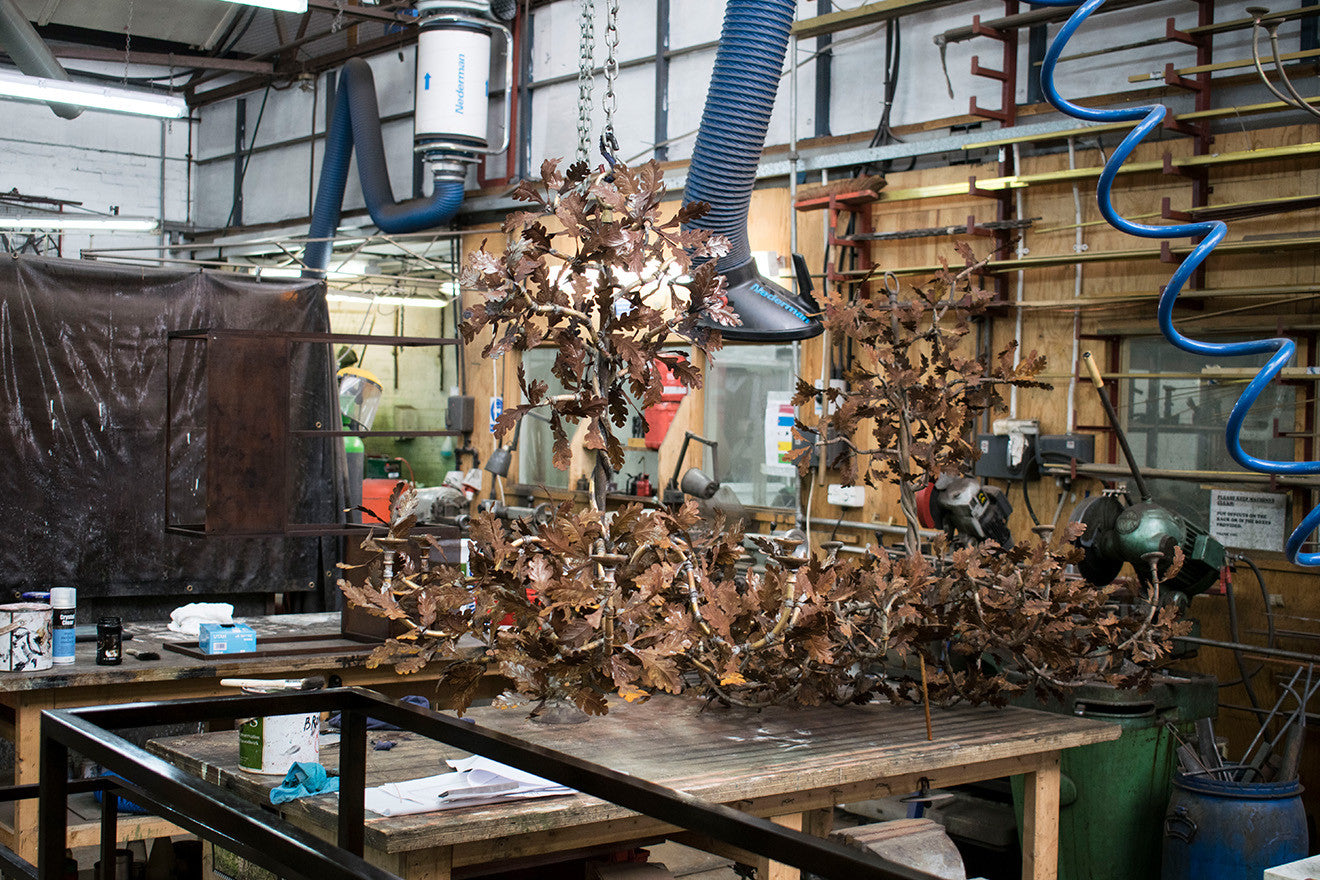 oak leaf chandelier construction Cox London Workshop