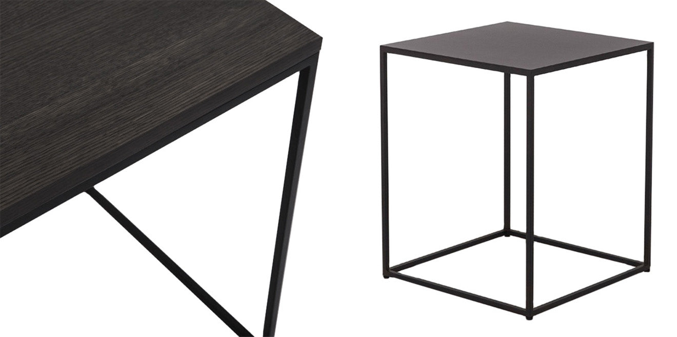 Black Cube End Table