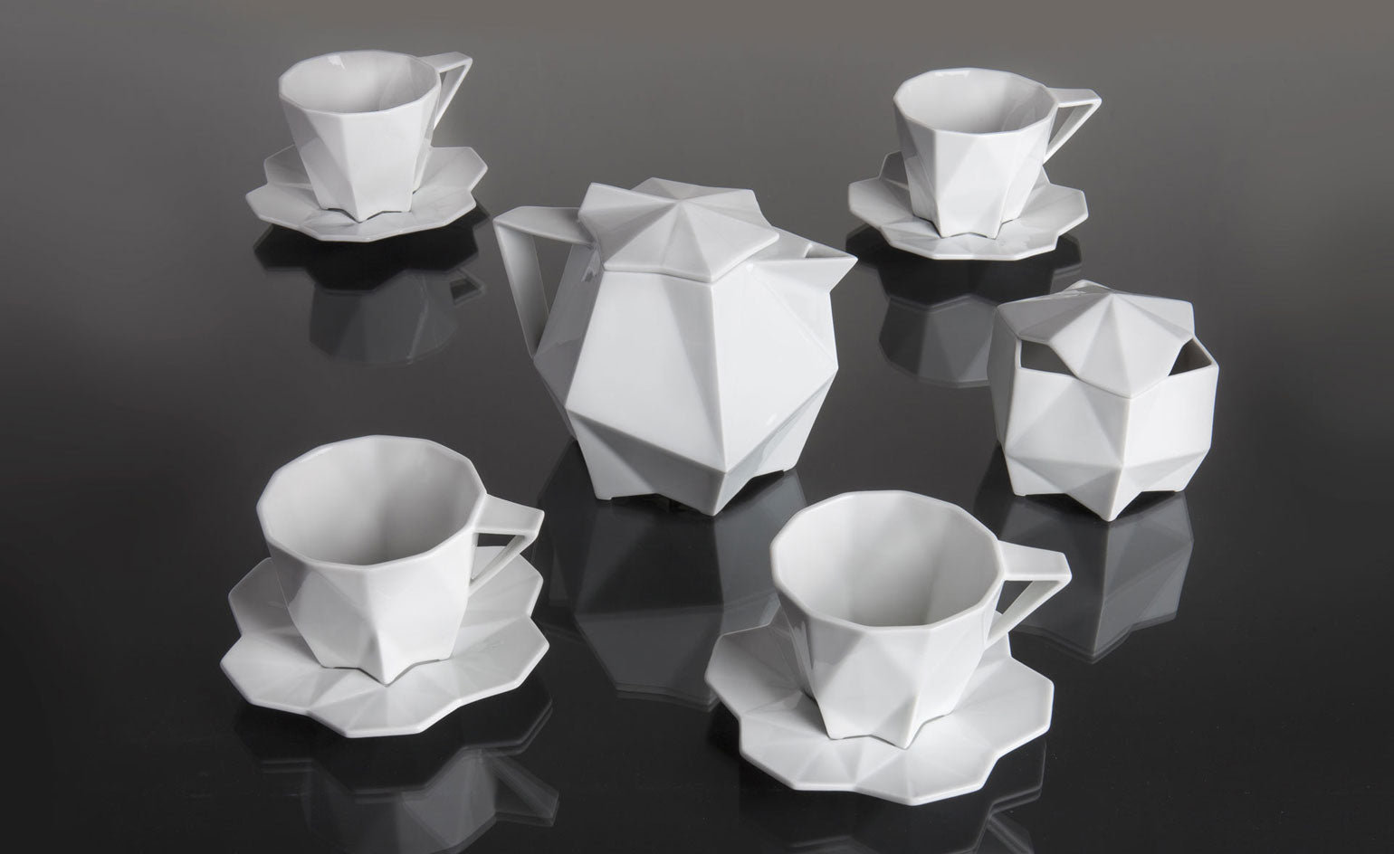 White cubist tableware and accessories from Lauriger