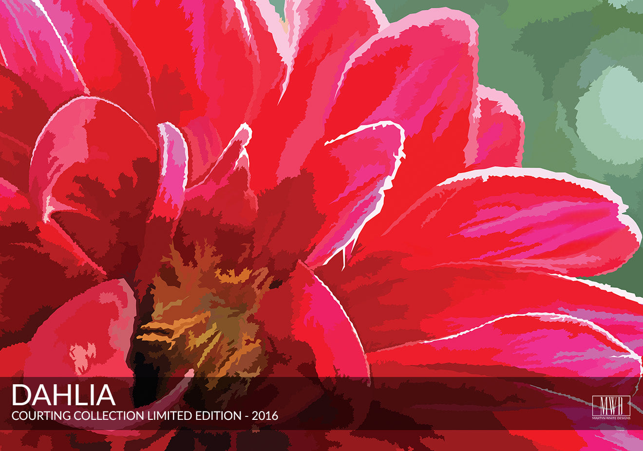Dahlia Art Print, Courting Collection Martyn White Designs