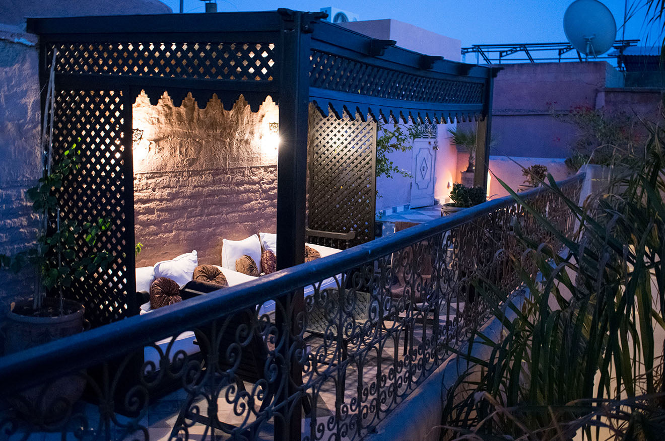Night time on the roof of Dar Jaguar Marrakech