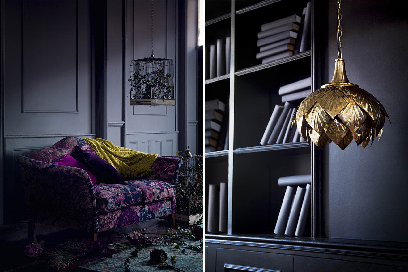 purple and brass home decorating accessories from Marks and Spencer Home