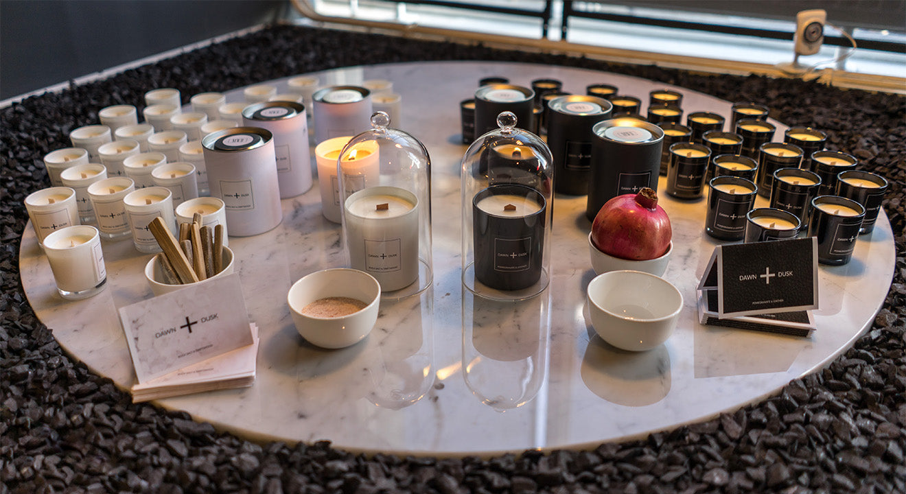 Dawn and Dusk candle collection on display at Buster and Punch London