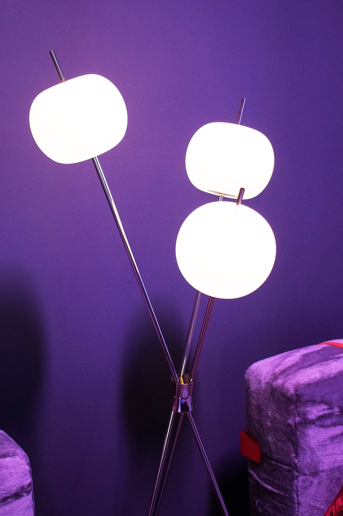 Contemporary floor light with globes on sticks
