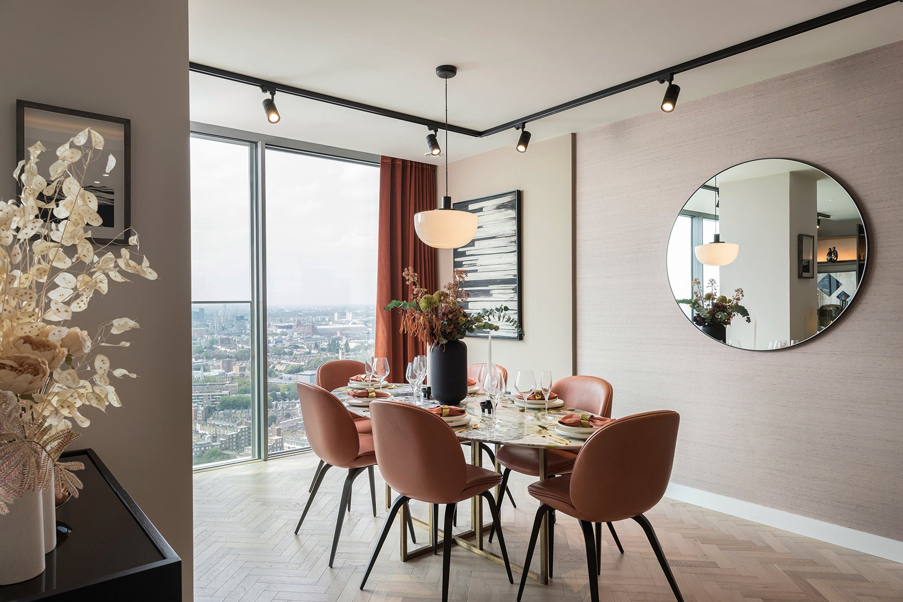 The dining area, luxury apartment 250 City Road, London Valencia Tower