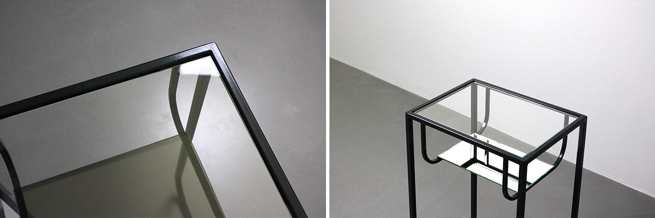 Metal and glass end table called Tints designed by Dubokk