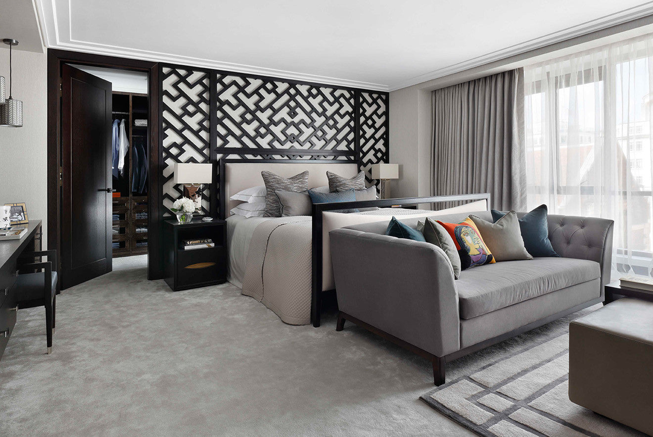 Master bedroom suite with walk in wardrobe and en suite bathroom design by Oliver Burns Beau House Penthouse