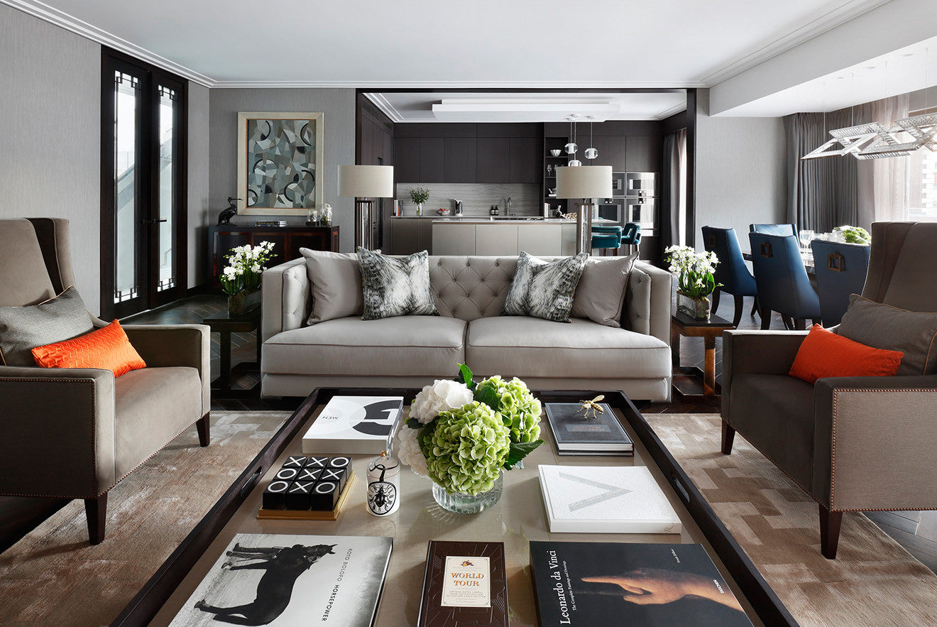 Open plan luxury living space Beau House penthouse apartment designed by Oliver Burns