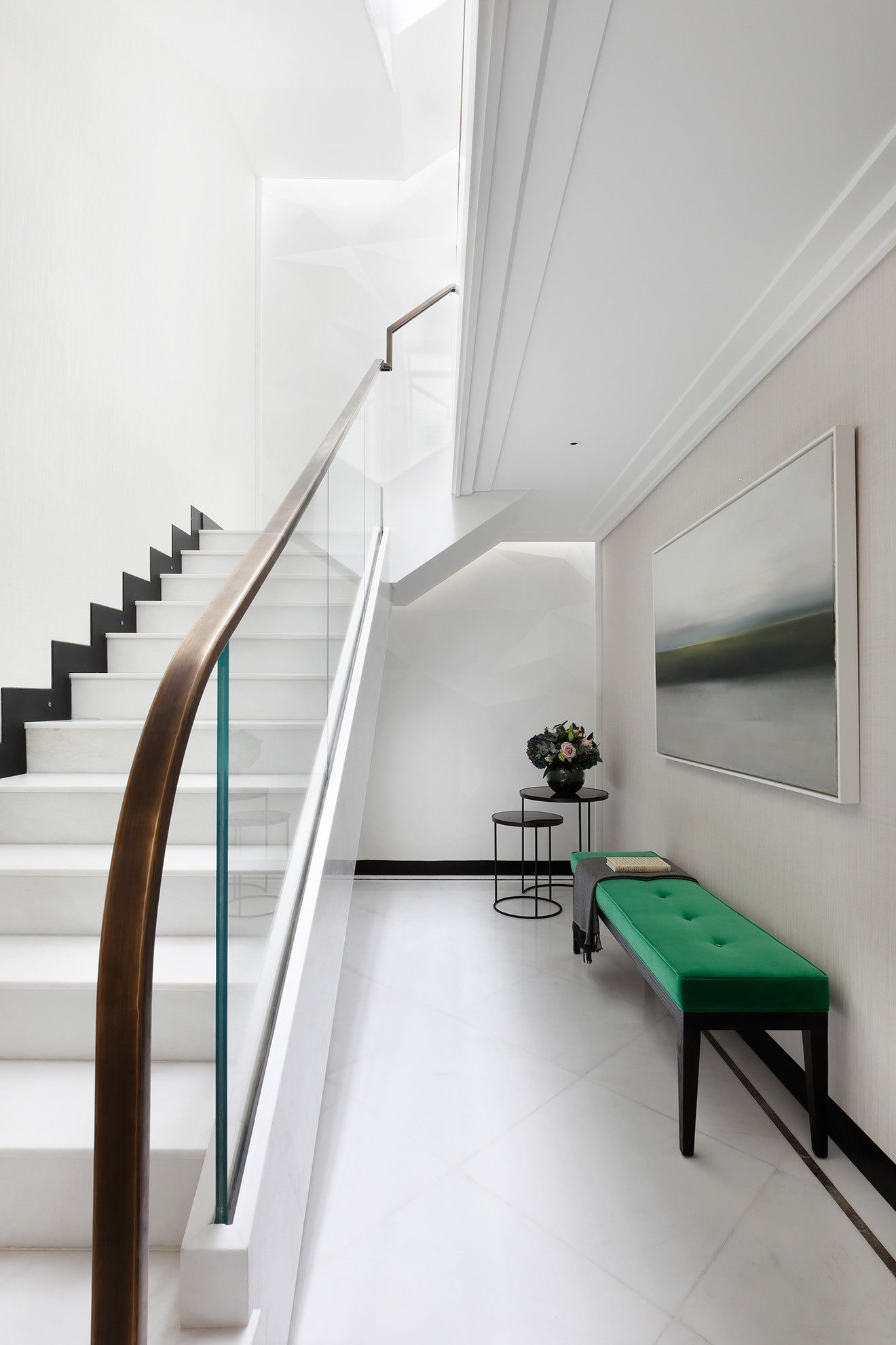 Stairs up to the roof terrace design by Oliver Burns Beau House Penthouse